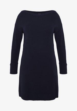 BOAT NECK MID GAUGE - Strikket kjole - navy