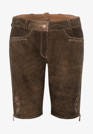 OXANA - Leather trousers - dark brown