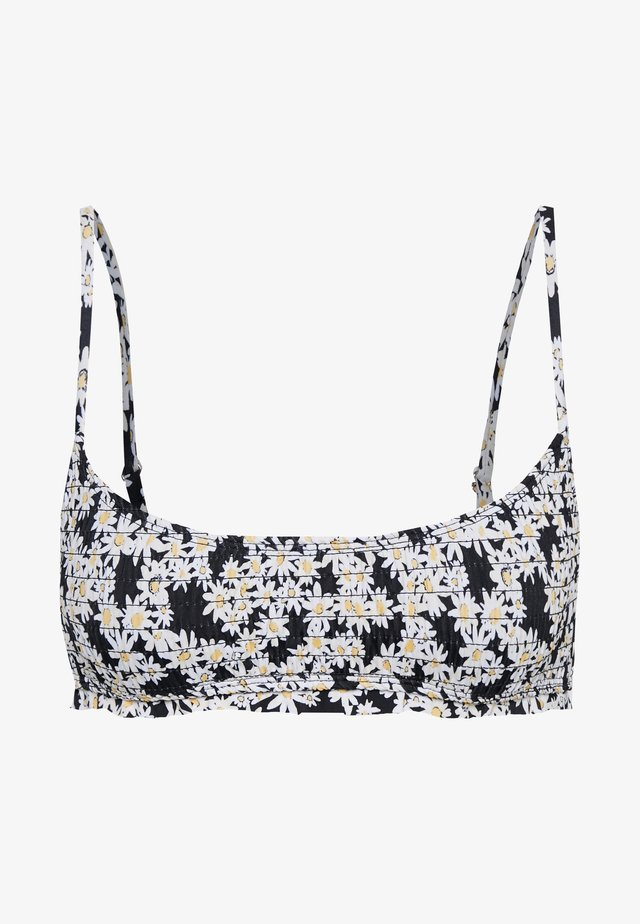 FLORAL SHIRRED HOOK EYE CROP - Bikini-Top - black