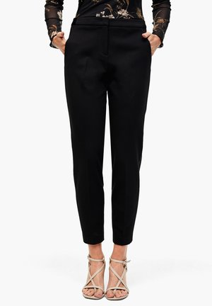 MIT GALONSTREIFEN - Pantalon classique - black