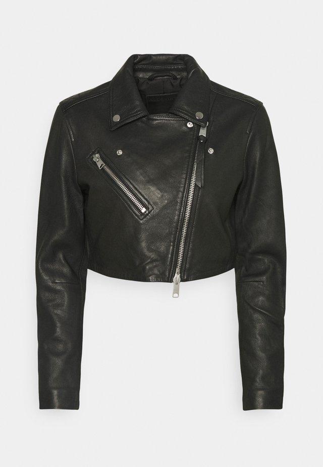 ELORA CROP BIKER - Leather jacket - black