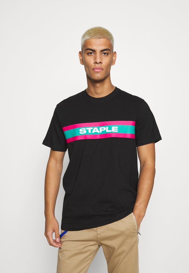 TAPE LOGO - Print T-shirt - black