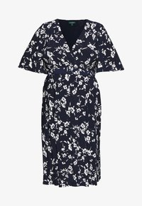 Lauren Ralph Lauren Woman - FRASIER SHORT SLEEVE DAY DRESS - Jersey dress - navy/cream/multi