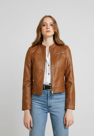 VMSHEENA SHORT JACKET - Faux leather jacket - cognac
