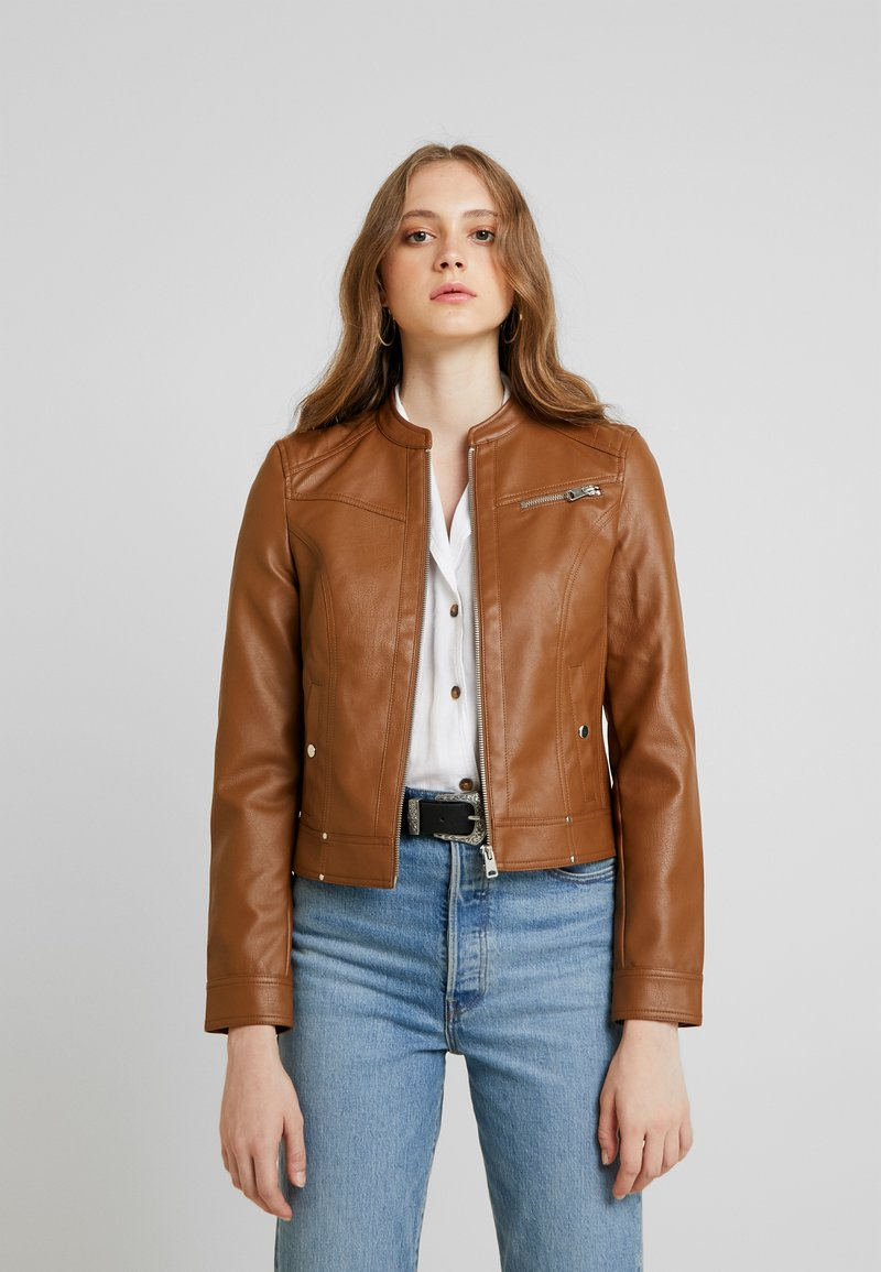 Vero Moda - VMSHEENA SHORT JACKET - Faux leather jacket - cognac