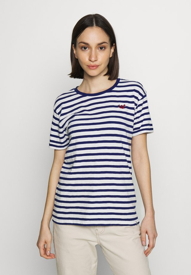 EASY STRIPE TEE WITH CHEST EMBROIDERY - T-shirt print - white/blue