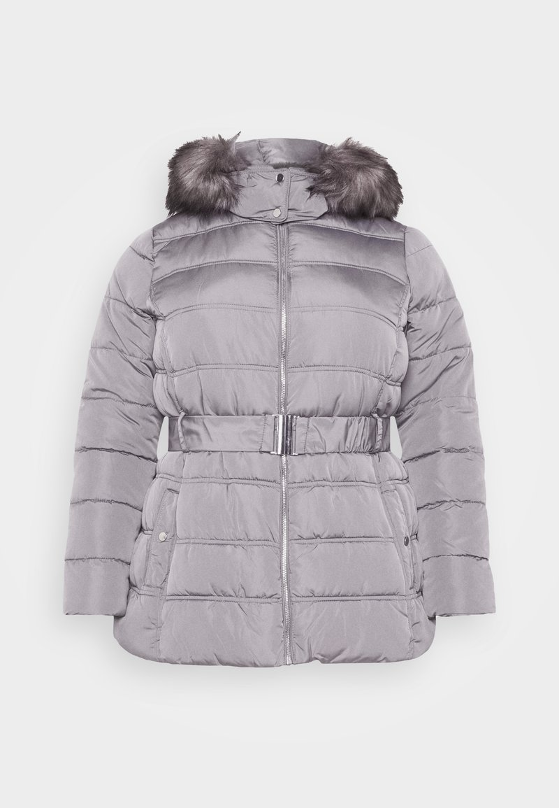 New Look Curves Ellie Belted Fitted Puffer Winter Coat Mid Grey Zalando Ie