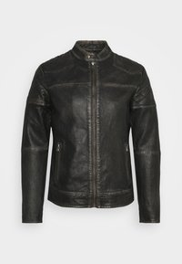BRENTWOOD BIKER - Leather jacket - black