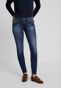 Marc O'Polo DENIM - ALVA SLIM - Slim fit jeans - dark crosshatch wash - 0