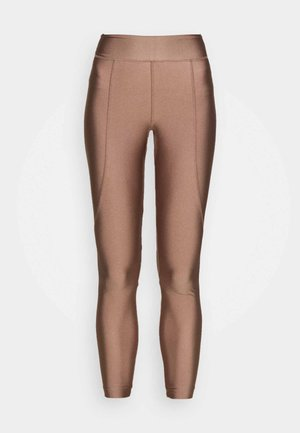 OVERLOCKED PANELLED SHINE - Leggings - taupe