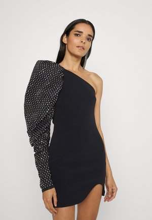 ONE SHOULDER PUFFED CRYSTAL MINI DRESS - Cocktail dress / Party dress - black