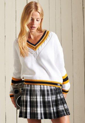 CHECK PLEATED MINI - Pleated skirt - black/white check