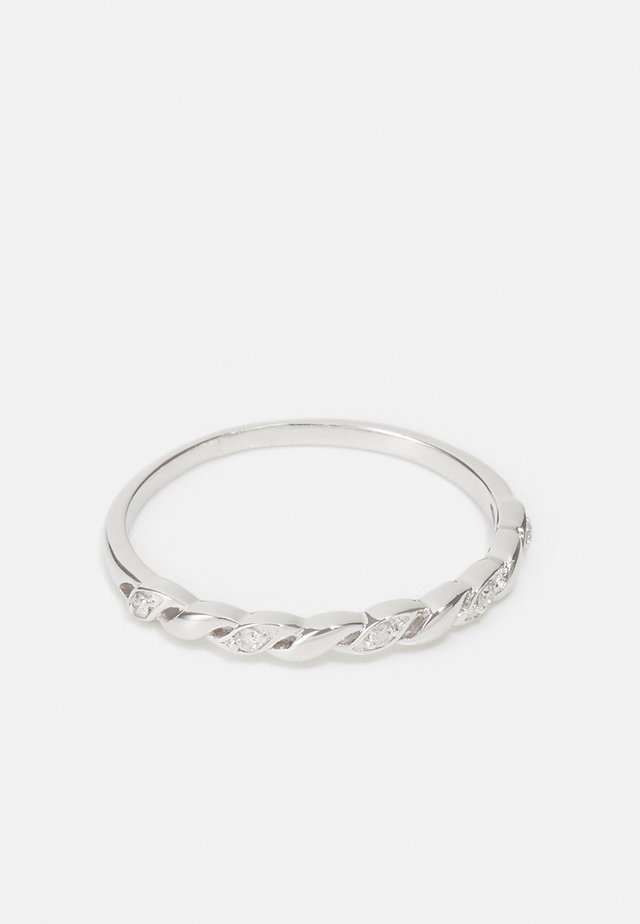NATURAL DIAMOND RING CERTIFIED 0.03CARAT TWISTED DIAMOND RINGS 9KT WHITE GOLD DIAMOND JEWELLERY GIFTS FOR WOMENS - Anello - white gold
