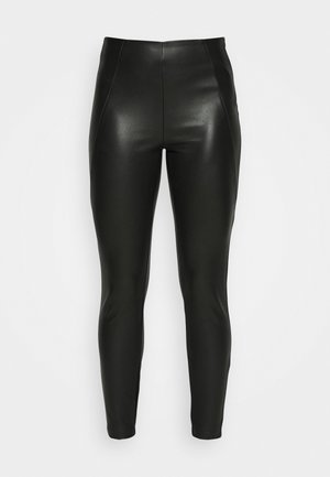 VIANNAS COATED - Leggings - black