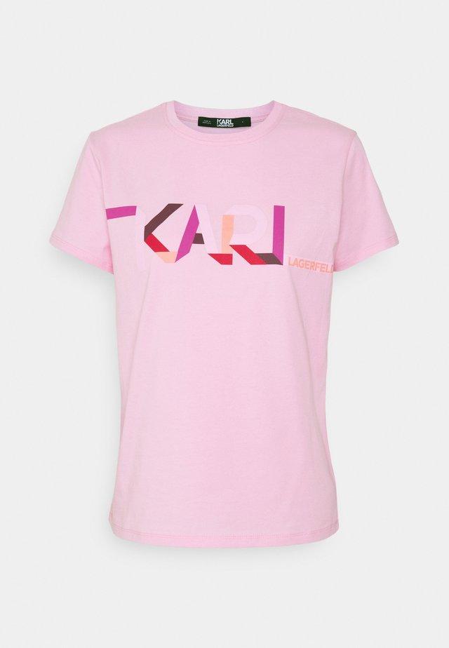 STRIPE LOGO - Print T-shirt - pink