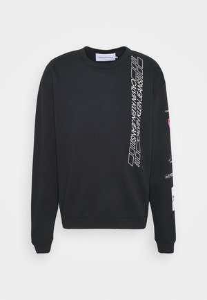 SLEEVE PRINT CREW NECK - Sweatshirt - black