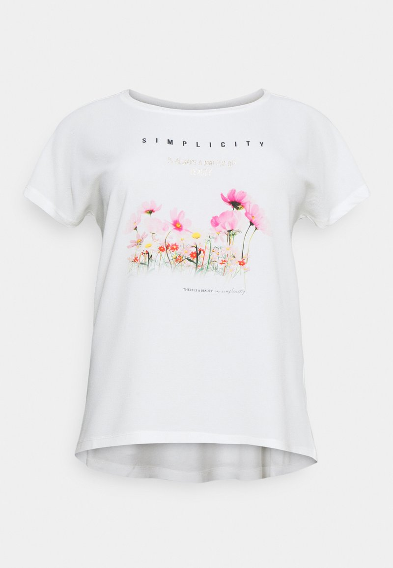 ONLY Carmakoma - CARCITY ONECK IN ONE TEE - Print T-shirt - cloud dancer