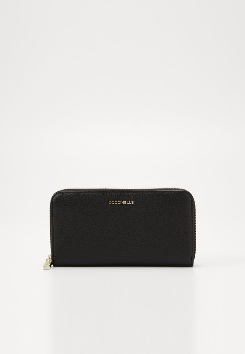 Coccinelle - METALLIC SOFT ZIP AROUND - Lommebok - noir
