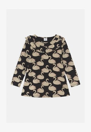 LONG FRILL DETAIL SWAN PRINT - Long sleeved top - black