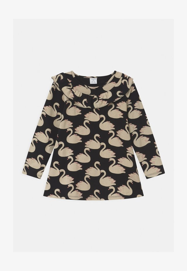 LONG FRILL DETAIL SWAN PRINT - Camiseta de manga larga - black