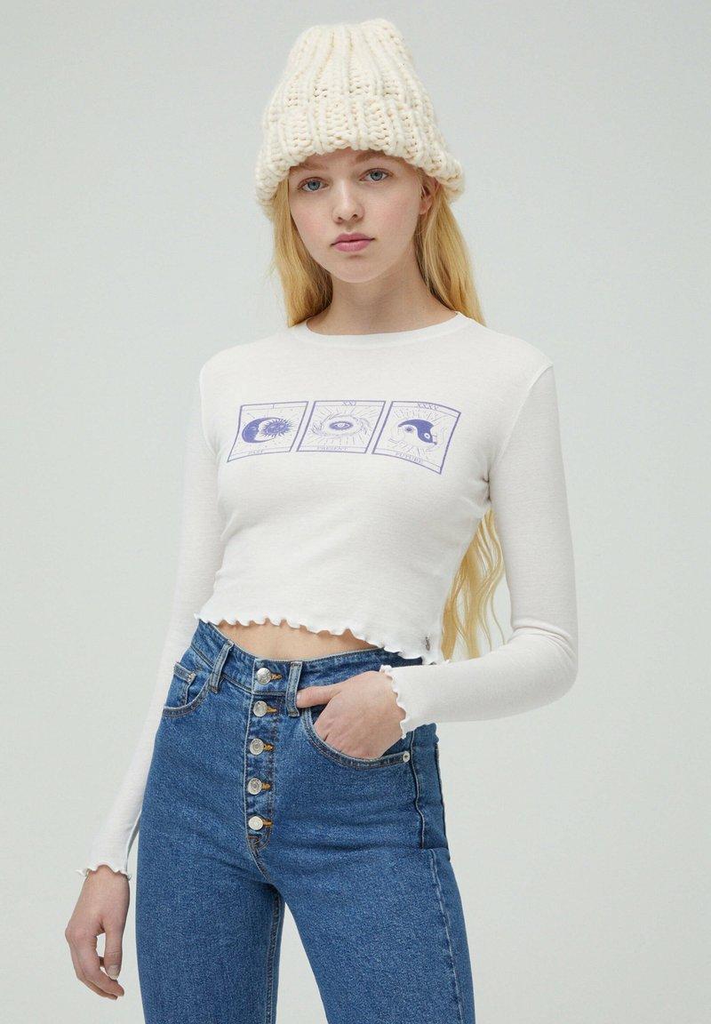 PULL&BEAR - Bluzka z długim rękawem - white
