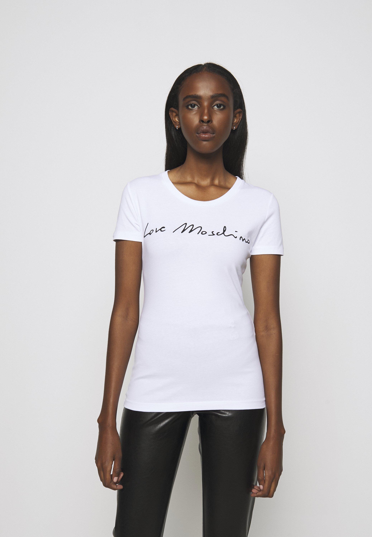 Factory Price Women's Clothing Love Moschino Print T-shirt optical white Rsv3qLxup