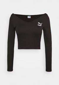 Puma - CLASSICS LONGSLEEVE CROPPED - Long sleeved top - black - 4