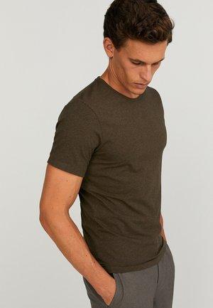 CORE MELANGE - Basic T-shirt - dk brown mel