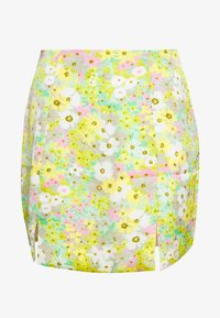 Glamorous - MAYA HIGH WAISTED MINI SKIRT WITH FRONT SIDE SPLITS - Spódnica mini - green pink floral - 0