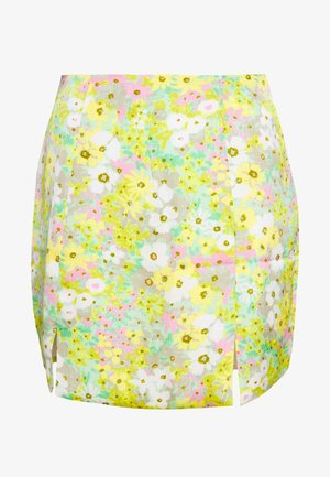 HIGH WAISTED MINI SKIRT WITH FRONT SIDE SPLITS - Mini skirt - green pink floral