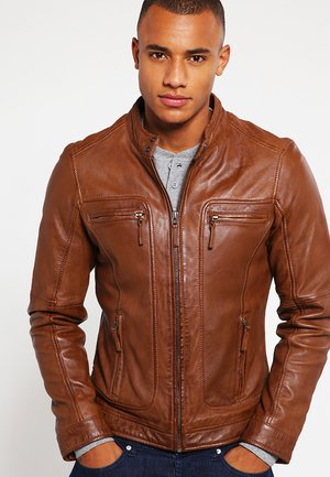 CASEY  - Leather jacket - tobacco