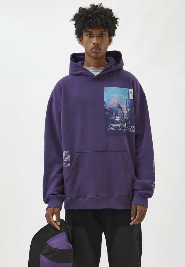 Mikina skapucí - mottled purple