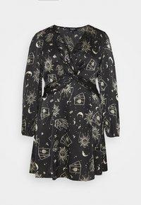 Simply Be - AMELIA TWIST FRONT SKATER DRESS - Denní šaty - black - 0