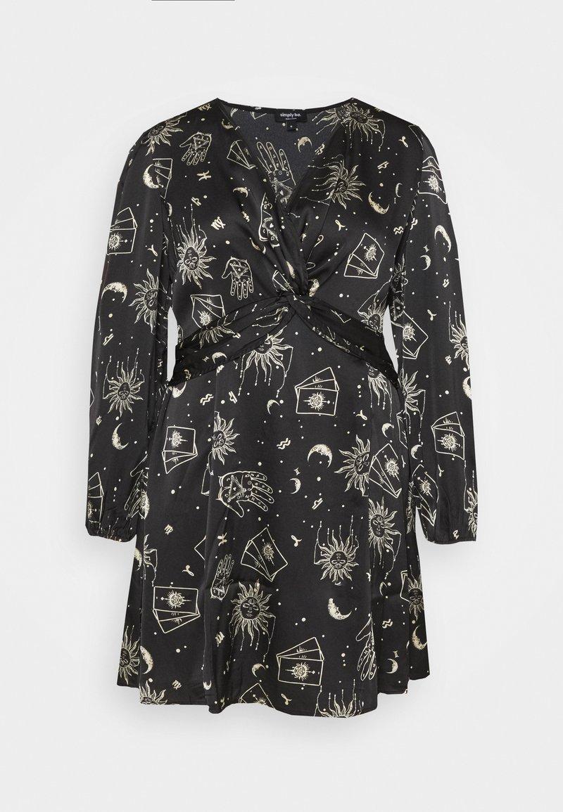 Simply Be - AMELIA TWIST FRONT SKATER DRESS - Denní šaty - black