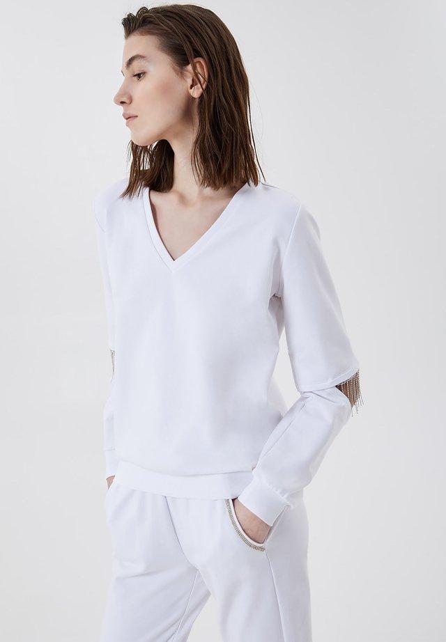 Sweatshirt - white with gemstones
