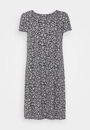 ONLBERA BACK DRESS - Žerzejové šaty - black/white