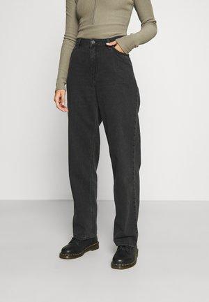 WIDE LEG LONG - Trousers - black