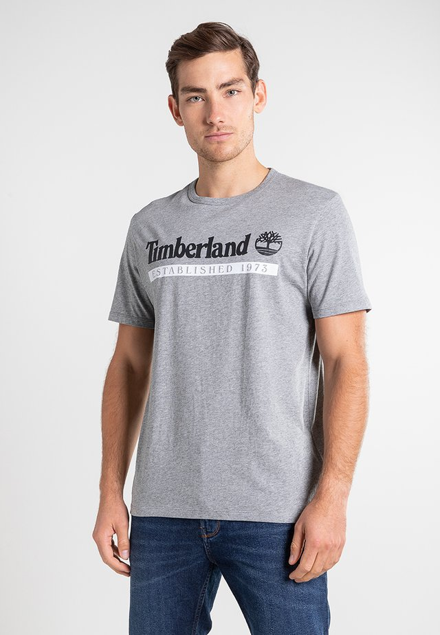 T-shirt con stampa - medium grey heather-white