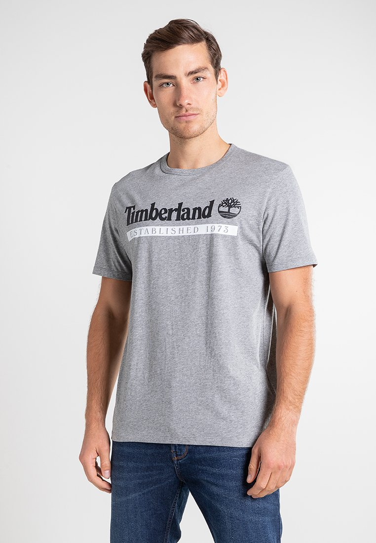 Timberland - Print T-shirt - medium grey heather-white