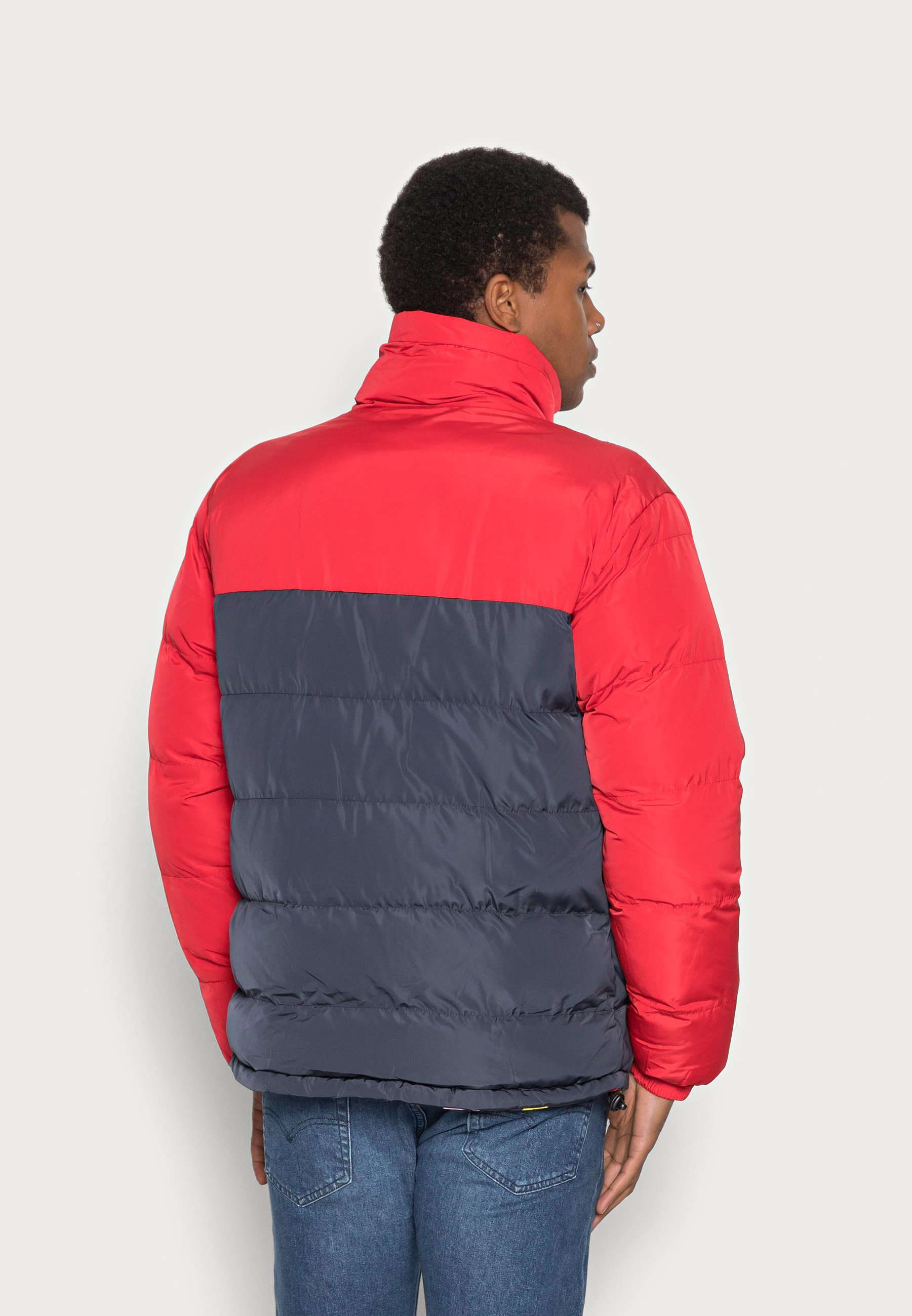 Women UNISEX RETRO REVERSIBLE BLOCK PUFFER JACKET RED - Winter jacket