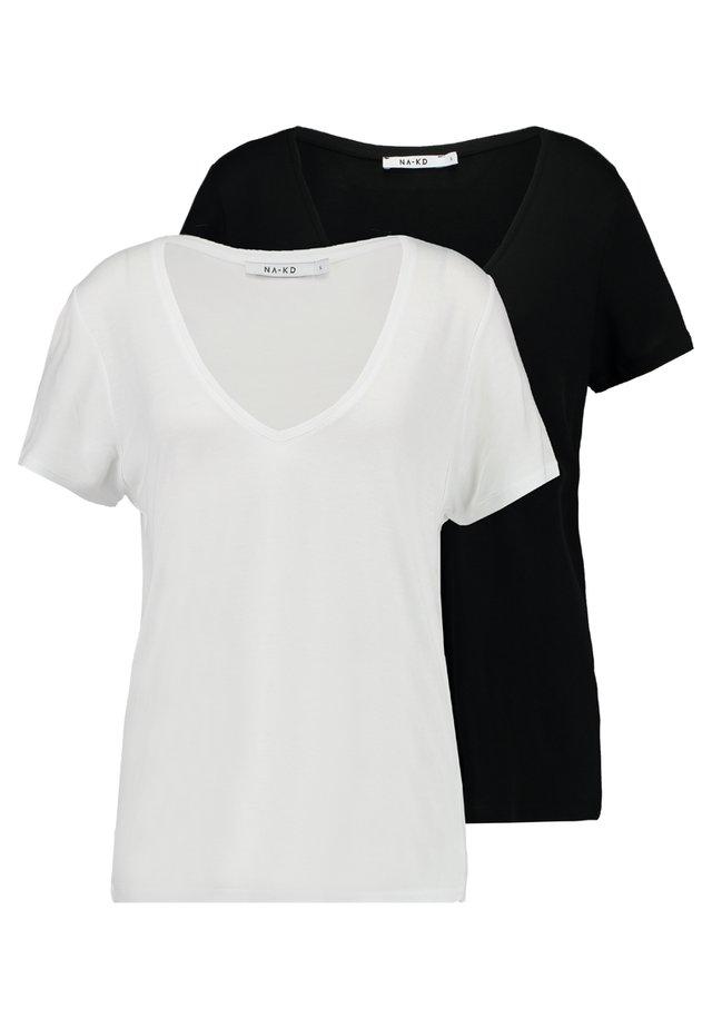 2 PACK V-NECK TEE - Jednoduché triko - black/white