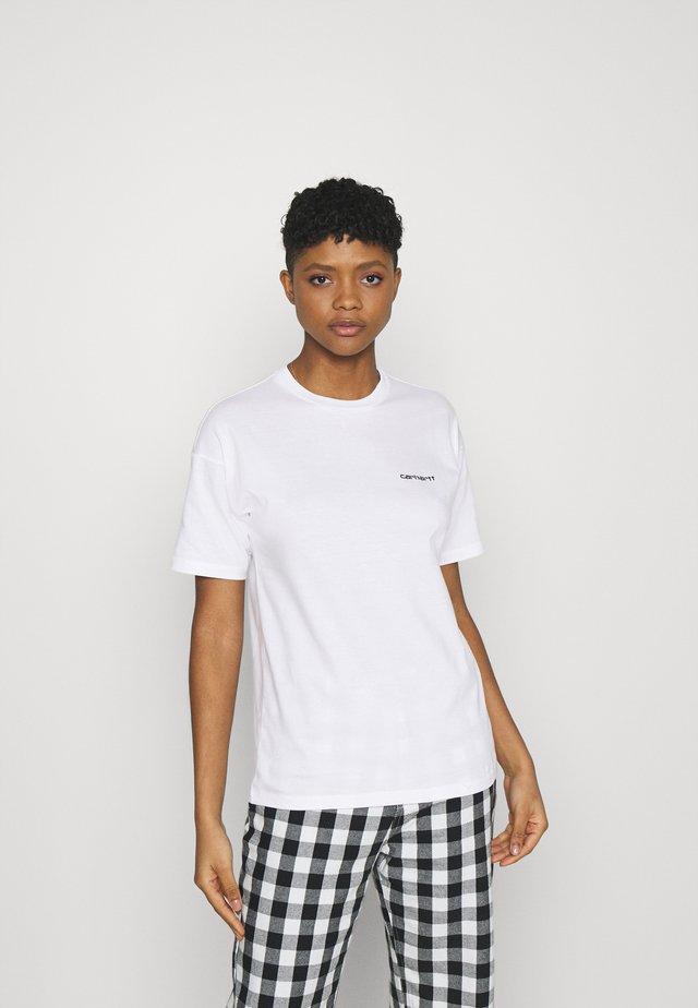 SCRIPT EMBROIDERY - T-shirt print - white/black