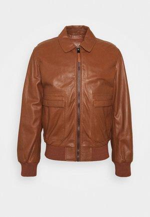 JACKET - Leather jacket - tortoise shell