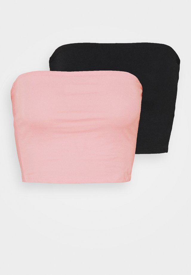 BANDEAU CROP TUBE 2 PACK - Top - black/baby pink