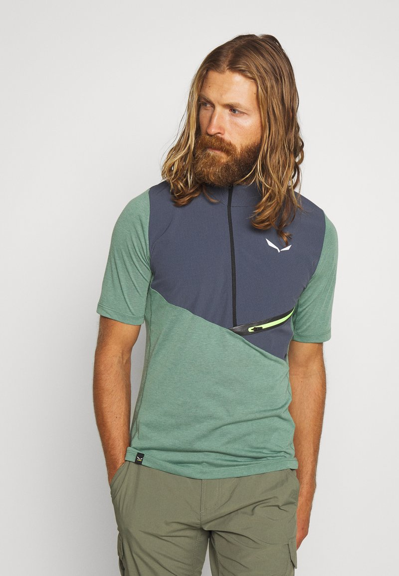 Salewa - AGNER HYBRID DRY ZIP TEE - T-shirt med print - myrtle melange
