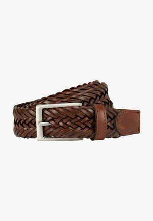 2TONE CORD INSET - Braided belt - brown/tan
