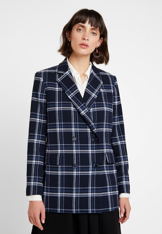CHECK DOUBLE BREASTED JACKET - Blazer - navy