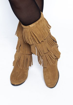 3 LAYER FRINGE - Cowboy/Biker boots - light brown