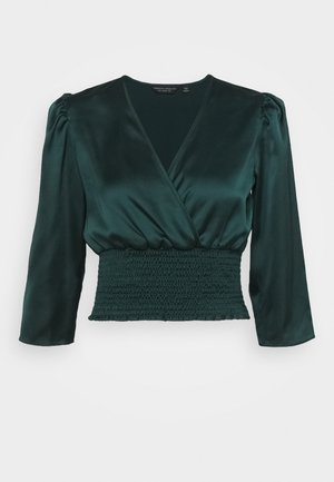 SHIRRED WAIST MOCK WRAP - Blouse - green
