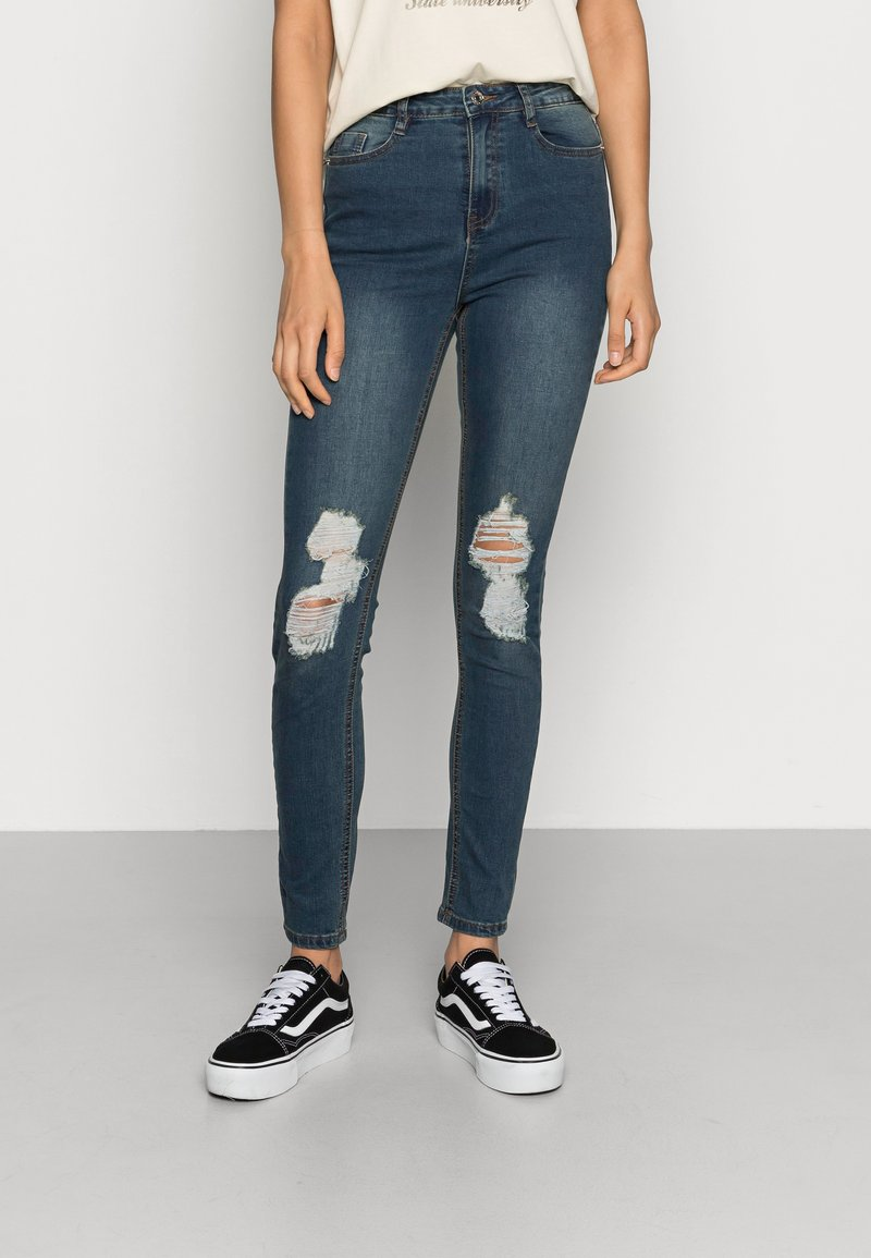 Missguided - SINNER DISTRESS KNEE CUT  - Jeans Skinny - blue